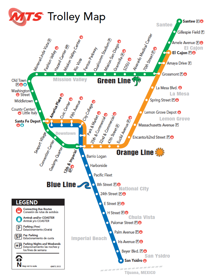 San Diego Trolley Map